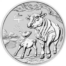 Stříbrná investiční mince Year of the Ox Rok Buvola Lunární 5 Oz 2021