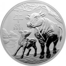 Stříbrná investiční mince Year of the Ox Rok Buvola Lunární 1 Kg 2021