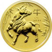 Zlatá investiční mince Year of the Ox Rok Buvola Lunární 1/4 Oz 2021