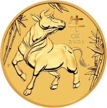 Zlatá investiční mince Year of the Ox Rok Buvola Lunární 1 Oz 2021