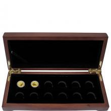 Luxusní sada ve dřevěné krabičce 2 zlatých mincí 1/10 Oz Lunární série III. 2020 - 2031