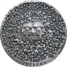 Stříbrná mince 5 Oz Inferno - Dante Alighieri - Božská komedie 2020 Antique Standard
