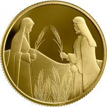 Zlatá mince Rút na Boazově poli 10 NIS Izrael Biblické umění 2020 Proof