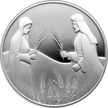 Stříbrná mince Rút na Boazově poli 2 NIS Izrael Biblické umění 2020 Proof