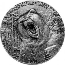 Stříbrná mince 3 Oz Grizzly - Predators High Relief 2020 Antique Standard