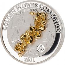 Stříbrná mince Golden Flower Collection - zlatá 3D orchidea 1 Oz 2021 Proof