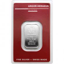 10g Argor Heraeus SA Švajčiarsko Investičná strieborná tehlička