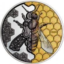Stříbrná mince 3 Oz Evoluce mechanického strojku - Včela Ultra high relief 2020 Proof