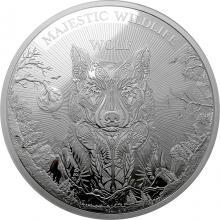 Stříbrná mince 1 kg Majestátní divoká zvěř - Vlk 2021 Proof