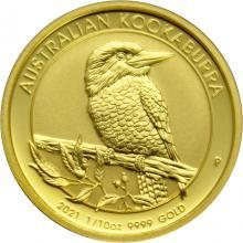 Zlatá investiční mince Kookaburra Ledňaček 1/10 Oz 2021