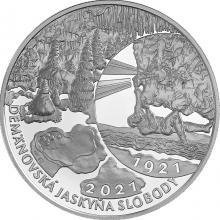 Stříbrná mince Objevení Demänovská jeskyně svobody - 100. výročí 2021 Proof
