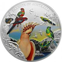 Stříbrná kolorovaná mince 5 Oz Papoušci Austrálie 2021 Proof