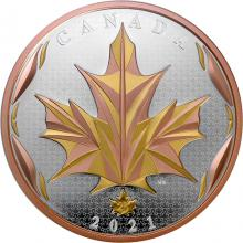 Stříbrná pozlacená mince 5 Oz Maple Leaf 2021 Proof