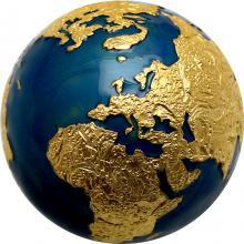 Strieborná pozlátená mince 3 Oz The Blue Marble - Planéta Zem 2021