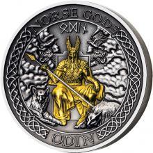 Stříbrná pozlacená mince Severští bohové - Odin 2 Oz High Relief 2020 Antique Standard