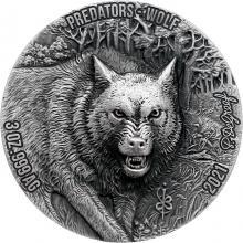 Stříbrná mince 3 Oz Vlk - Predators High Relief 2021 Antique Standard