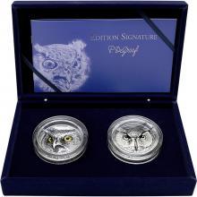 Exkluzívna sada strieborných mincí Owl High Relief 2020 Antique Standard