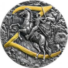 Strieborná minca Zorro 2 Oz 2021 Antique Standard