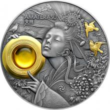 Strieborná pozlátená mince Božske Tváre Slnka - Amaterasu 3 Oz 2021 Antique Standard