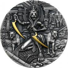Strieborná pozlátená mince Bohovia hnevu - Sachmet 2 Oz High Relief 2021 Antique Standard