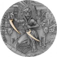 Stříbrná pozlacená mince Bohové hněvu - Sachmet 2 Oz High Relief 2021 Antique Standard