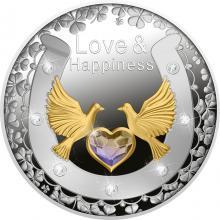 Stříbrná mince Láska a štěstí 2021 Krystaly Swarovski Proof