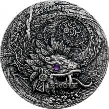 Strieborná minca 2 Oz Draci - aztécky drak 2020 ametyst Antique Štandard