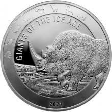 Strieborná investičná minca Obri doby ľadovej - Nosorožec srstnatý 1 Oz 2021