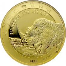 Zlatá investiční mince Obři doby ledové - Nosorožec srstnatý 1 Oz 2021