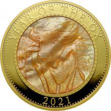 Zlatá mince 5 Oz Year of the Ox - Rok Buvola 2021 Perleť Proof