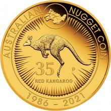 Zlatá mince 2 Oz Australian Kangaroo/Nugget - 35. výročí 2021 Proof