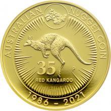 Zlatá minca 2 Oz Australian Kangaroo/Nugget - 35. výročie 2021 Proof