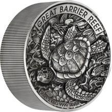 Stříbrná mince 2 Kg Velký bariérový útes High Relief 2021 Antique Standard