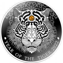 Strieborná minca Year of the Tiger - Rok tigra 2022 Crystal Swarovski Proo