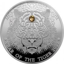 Stříbrná mince Year of the Tiger - Rok tygra 2022 Krystal Swarovski Proof