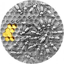 Stříbrná mince Honey bee - Včela 2 Oz 2021 Antique Standard