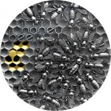 Strieborná minca Honey bee - Včela 2 Oz 2021 Antique Standard