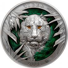 Stříbrná mince 3 Oz Barvy divočiny - Tygr 2021 Antique Standard