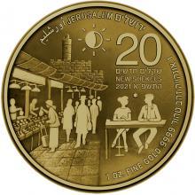 Trh Machane Jehuda jedenásta zlatá investičná minca Izraela 1 Oz 2021