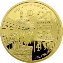 Trh Machane Jehuda jedenáctá zlatá investiční mince Izraele 1 Oz 2021