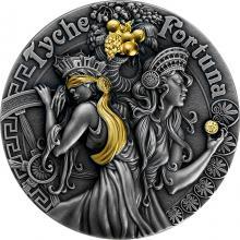 Strieborná pozlátená minca Bohyne: Fortuna a Tyché 2 Oz High Relief 2021 Antique Standard