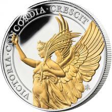 Stříbrná pozlacená mince Ctnosti královny - Vítězství 1 Oz 2021 Proof