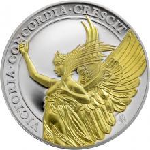 Strieborná pozlátená minca Cnosti kráľovnej - Víťazstvo 1 Oz 2021 Proof