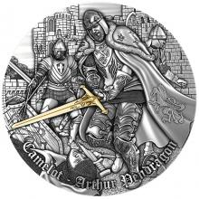 Strieborná minca séria Camelot - Kráľ Artuš 2 Oz Ultra high relief 2021 Antique Štandard