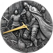 Stříbrná mince série Camelot - Král Artuš 2 Oz Ultra high relief 2021 Antique Standard