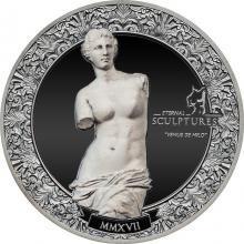 Stříbrná mince 2 Oz Věčné sochy - Venuše Mélská Ultra high relief 2017 Proof