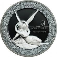 Stříbrná mince 2 Oz Věčné sochy - Amor a Psyché Ultra high relief 2016 Proof