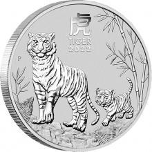 Stříbrná investiční mince Year of the Tiger Rok Tygra Lunární 5 Oz 2022