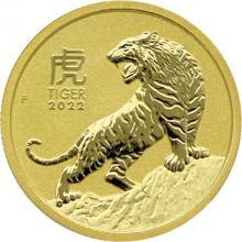 Zlatá investiční mince Year of the Tiger Rok Tygra Lunární 1/10 Oz 2022