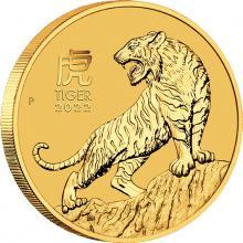 Zlatá investiční mince Year of the Tiger Rok Tygra Lunární 1/2 Oz 2022
